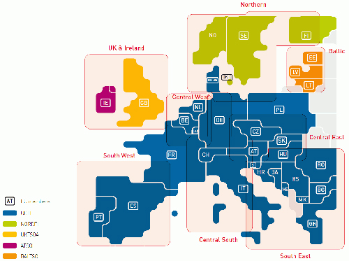 Figure 4.1 Different synchronous regions in Europe, Source: UCTE, Ucte Transmission Development Plan 2008